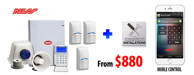 NESS wired/Wireless Alarm installation package  with mobile phone control